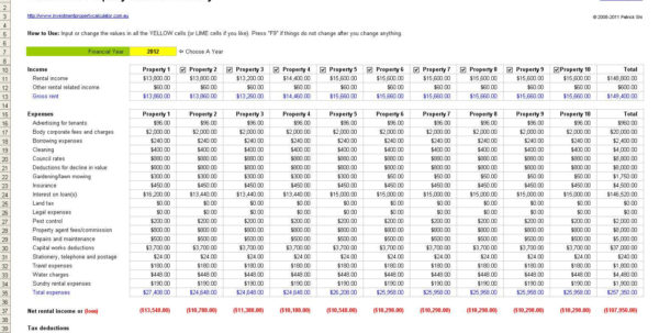 Investment Property Calculator Excel Spreadsheet Real Estate For Real Estate Investment Calculator Spreadsheet