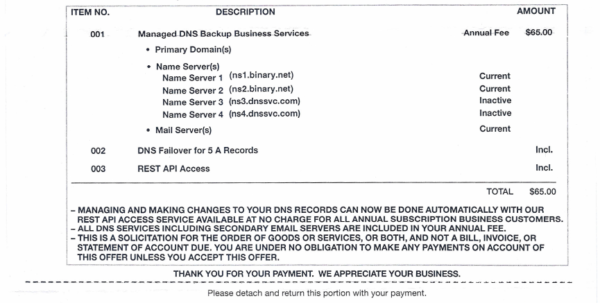 Invoice Letter From Dns Services (Or Another Company) For The Intended For Domain Name Invoice