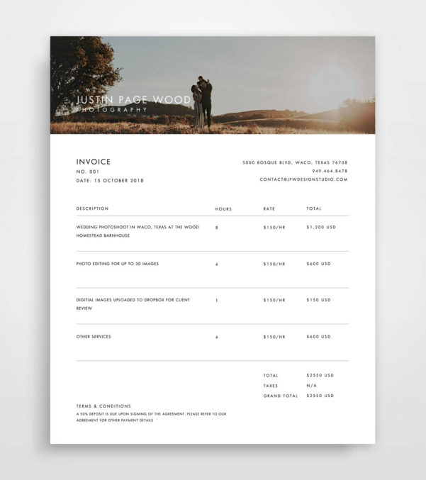 Invoice Photography Invoice Template Invoice Template | Etsy With Photography Invoice Template