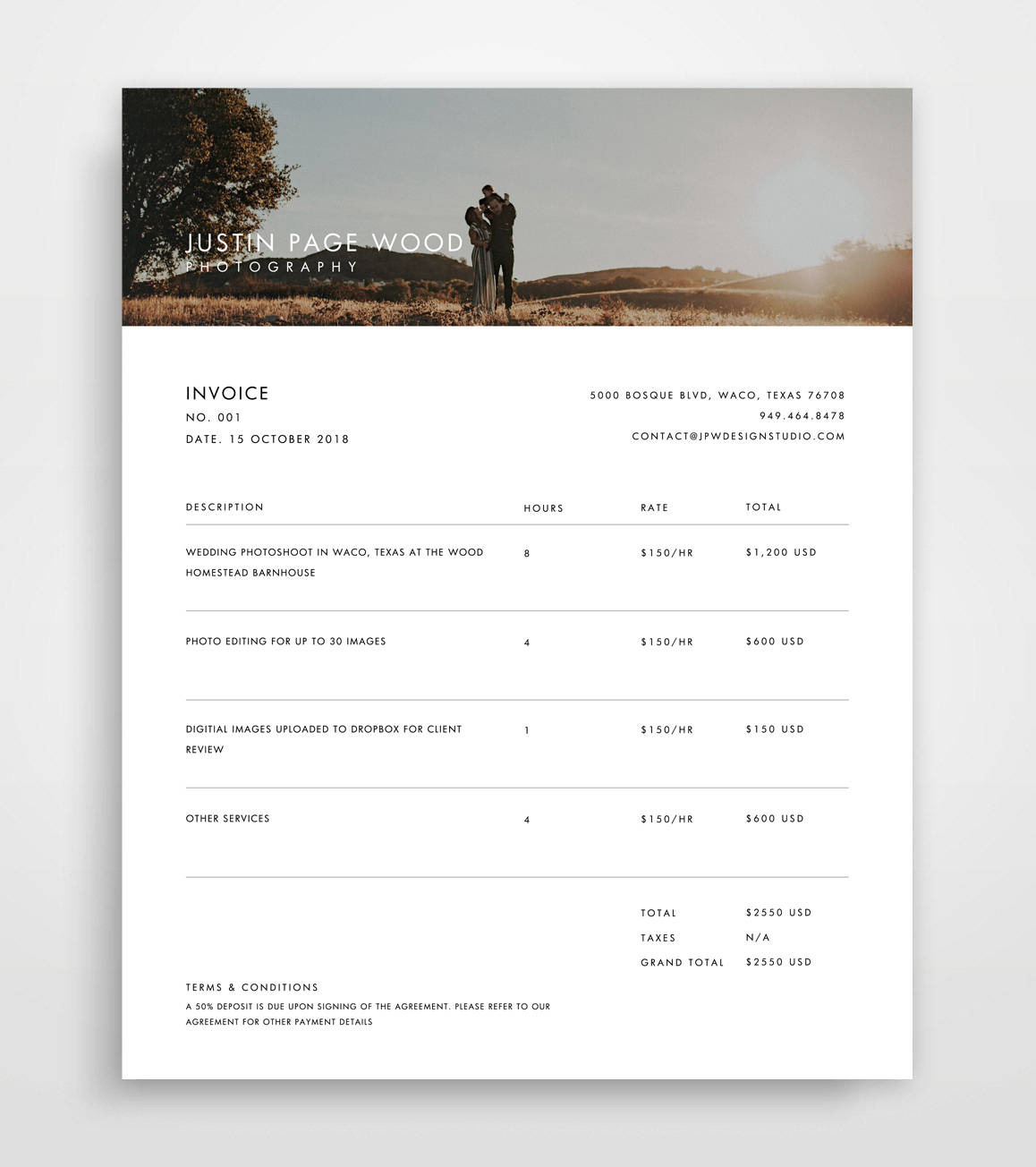 Invoice Photography Invoice Template Invoice Template | Etsy With Photography Invoice Template