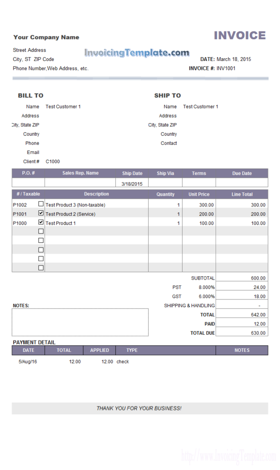 Invoice Sample With Partial Payment And Payment History With Payment Invoice Template