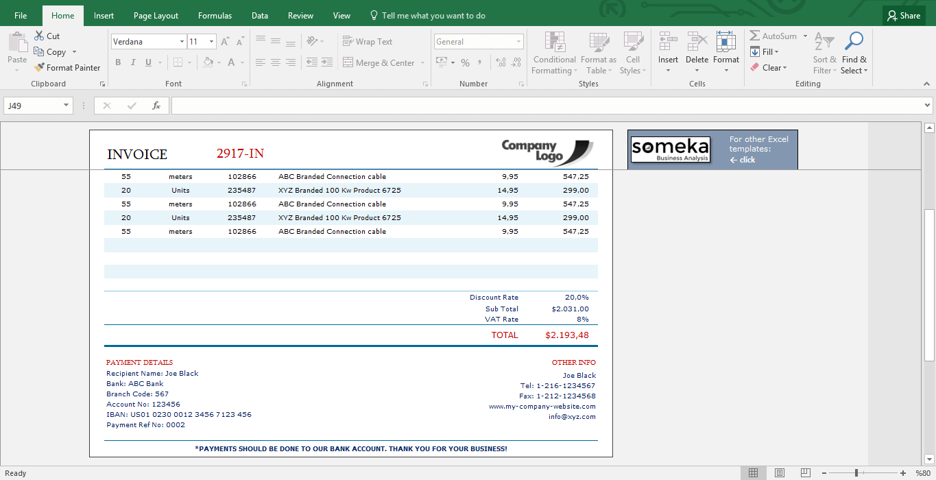 Invoice Template   Excel Template For Small Business Throughout Invoice Excel Template