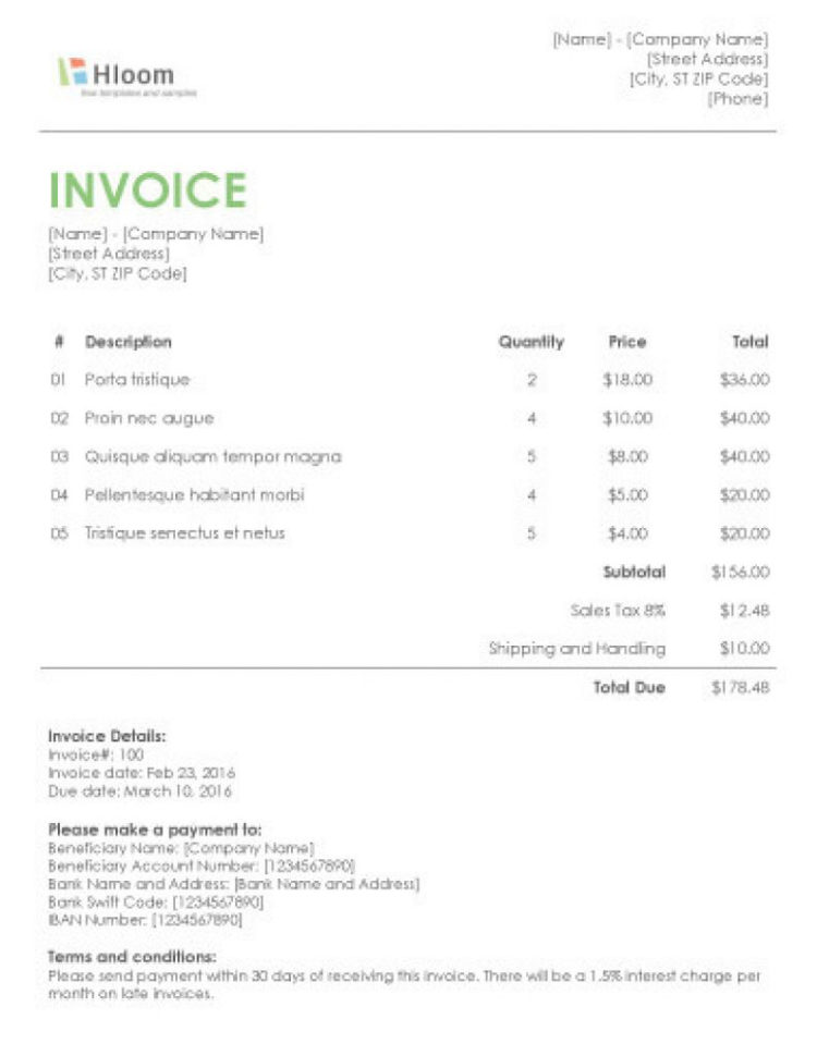 Invoice Templates For Word Effective 19 Blank Invoice Templates For Invoice Template Microsoft Word