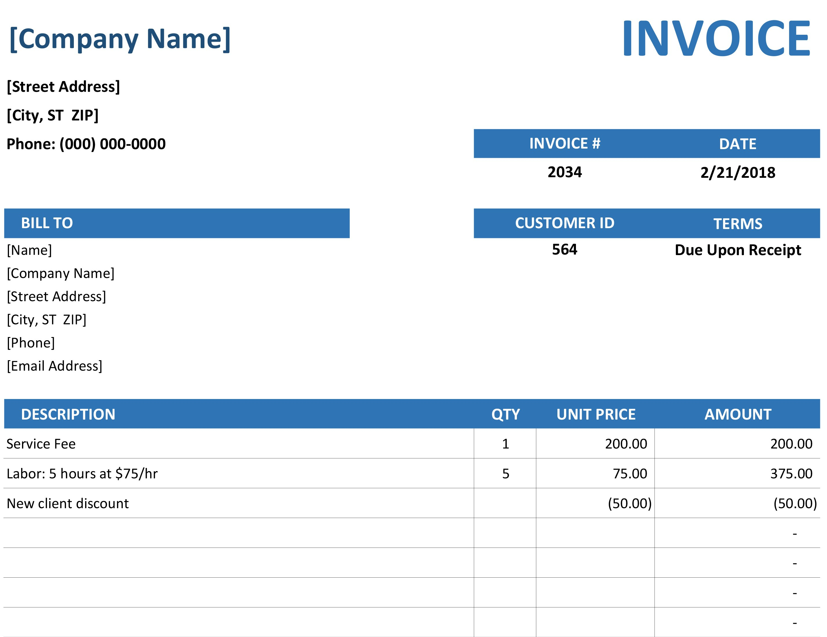 Invoices   Office To Microsoft Excel Invoice Template