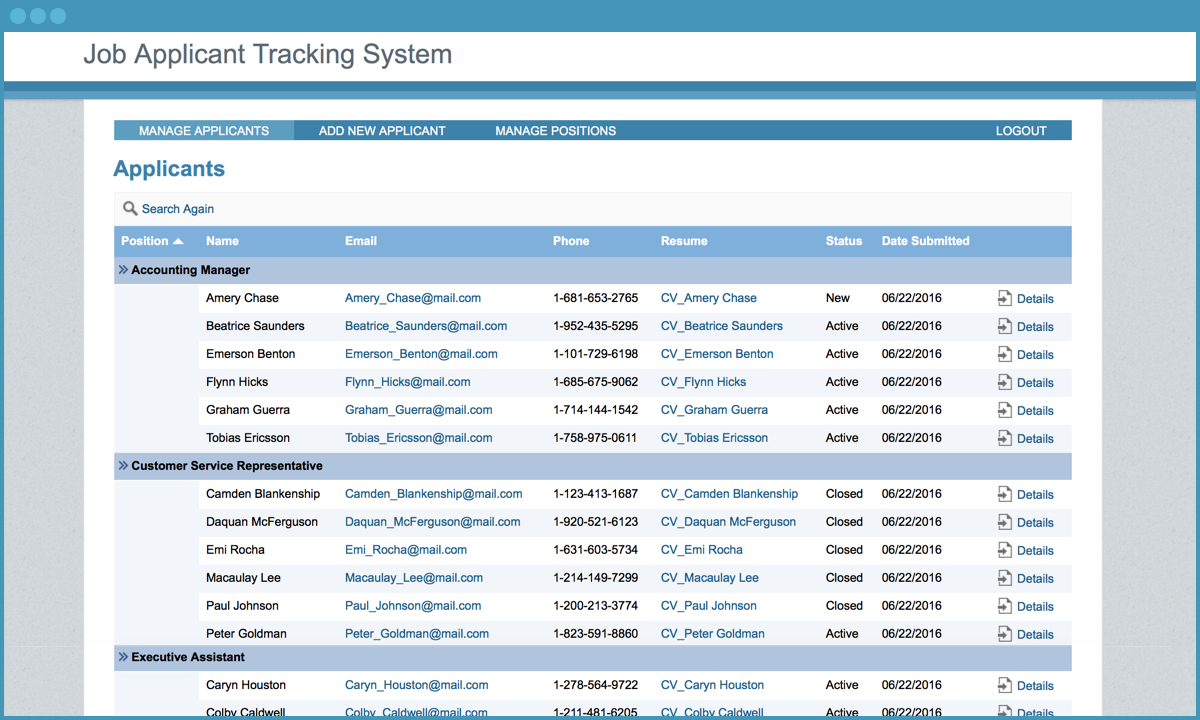 Job Applicant Tracking System   Free Application Template   Caspio With Recruiting Tracking Spreadsheet