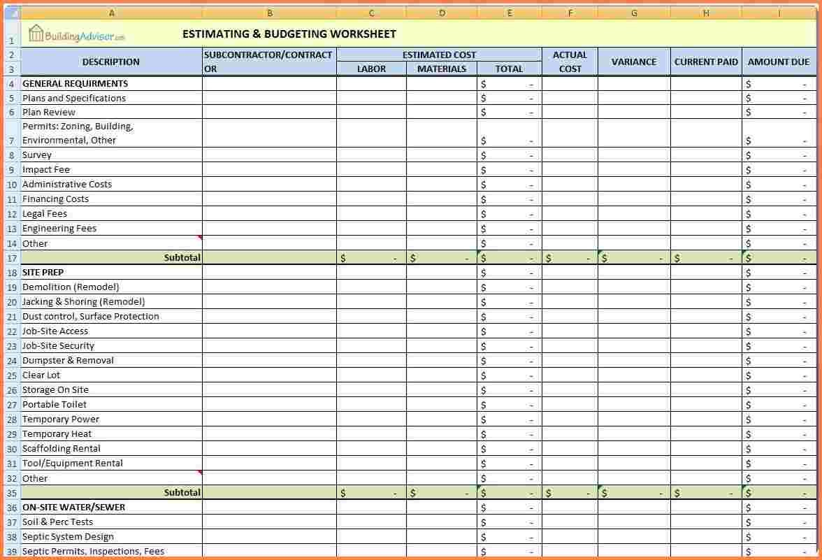 Job Costing Spreadsheet Excel Achievable Representation So For Construction Job Costing Spreadsheet