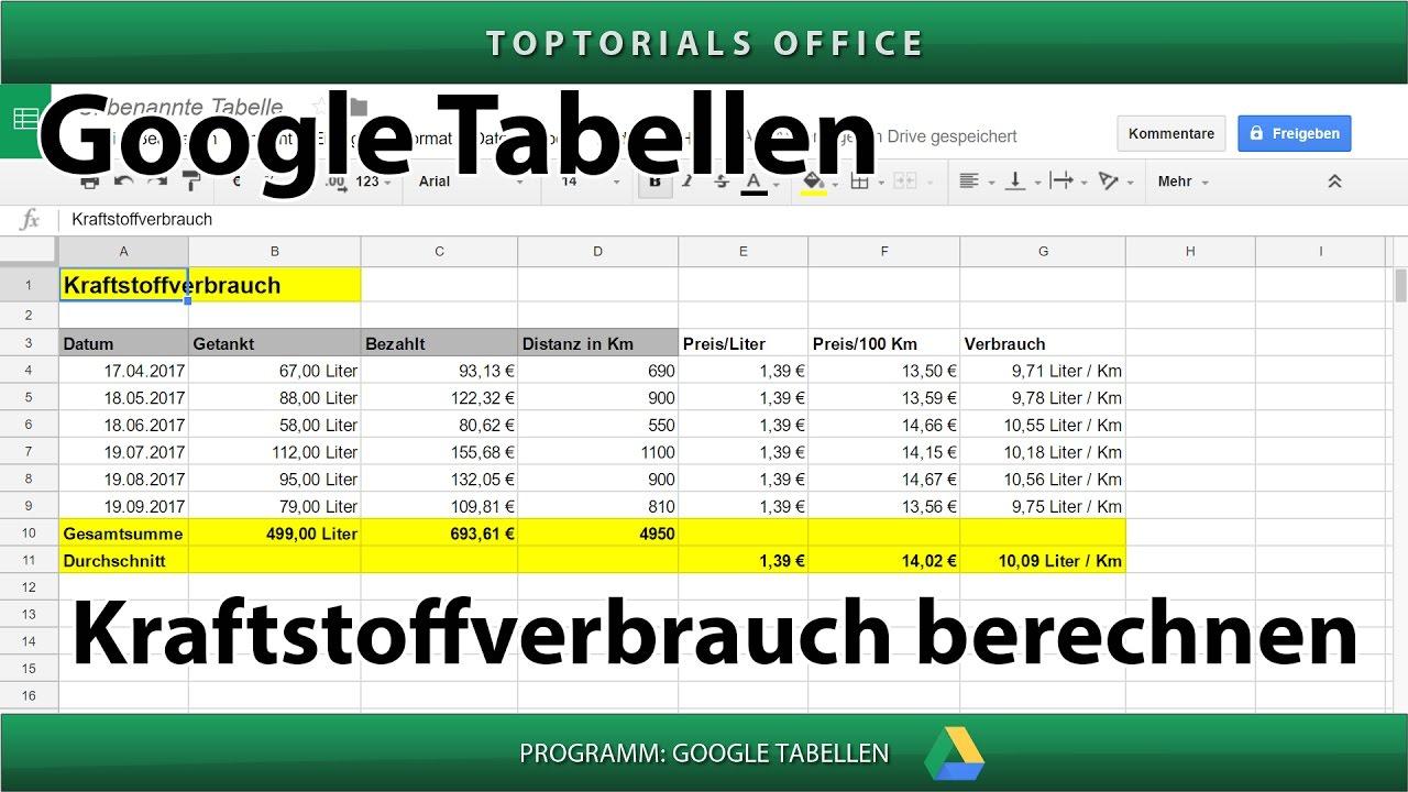 Kraftstoffverbrauch / Benzinverbrauch Berechnen (Google Tabellen Intended For Excel Spreadsheets For Dummies