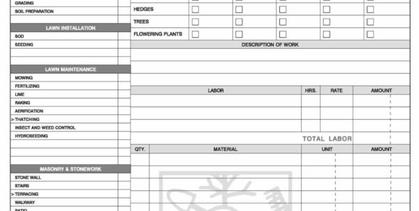 Landscaping Invoice Form Designing In Landscaping Invoice Template