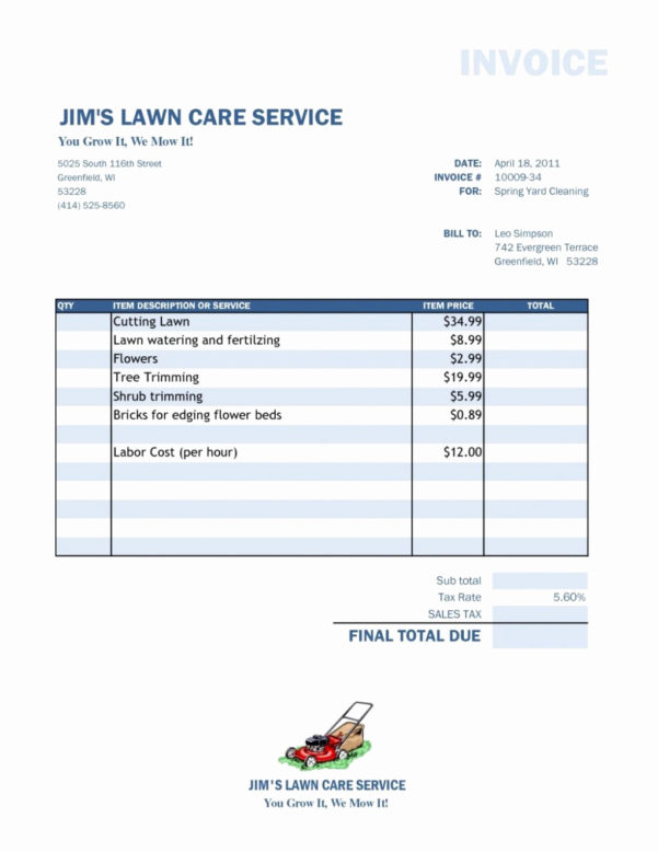 Landscaping Invoice Pdf Beautiful Lawn Care Invoice Template Sample Intended For Landscaping Invoice Template
