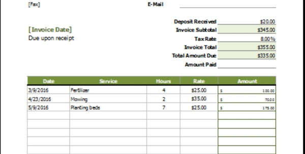 Lawn Care Invoice Template | Papillon Northwan Intended For Lawn Care Invoice Template