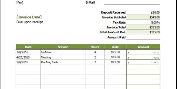 Lawn Care Invoice Template | Papillon Northwan Intended For Lawn Care Invoice Template