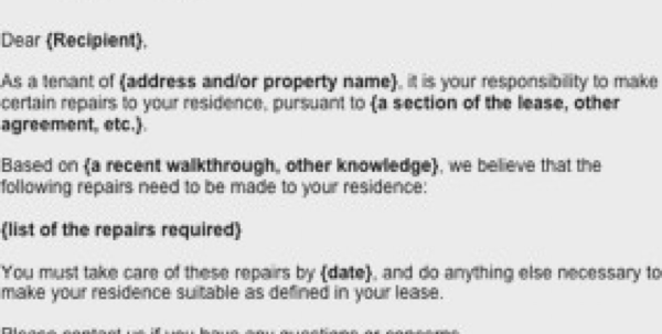 Letter Landlord For Repairs Tenant Style Request Business Form Intended For Business Form Templates