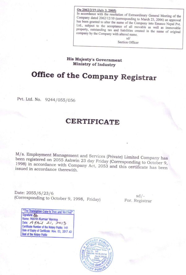License/certificates – Emasco Nepal Pvt. Ltd. Within Business Registration License