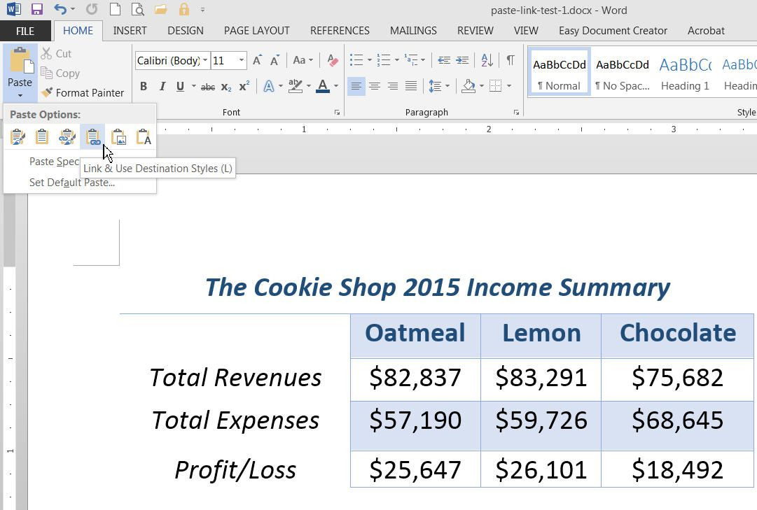 Link Data In Excel, Word, And Powerpoint With Paste Link With Word Excel Spreadsheet