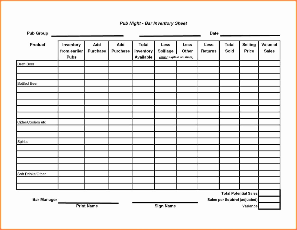 Liquor Inventory Control Spreadsheet Lovely Liquor Inventory To Bar Inventory Templates