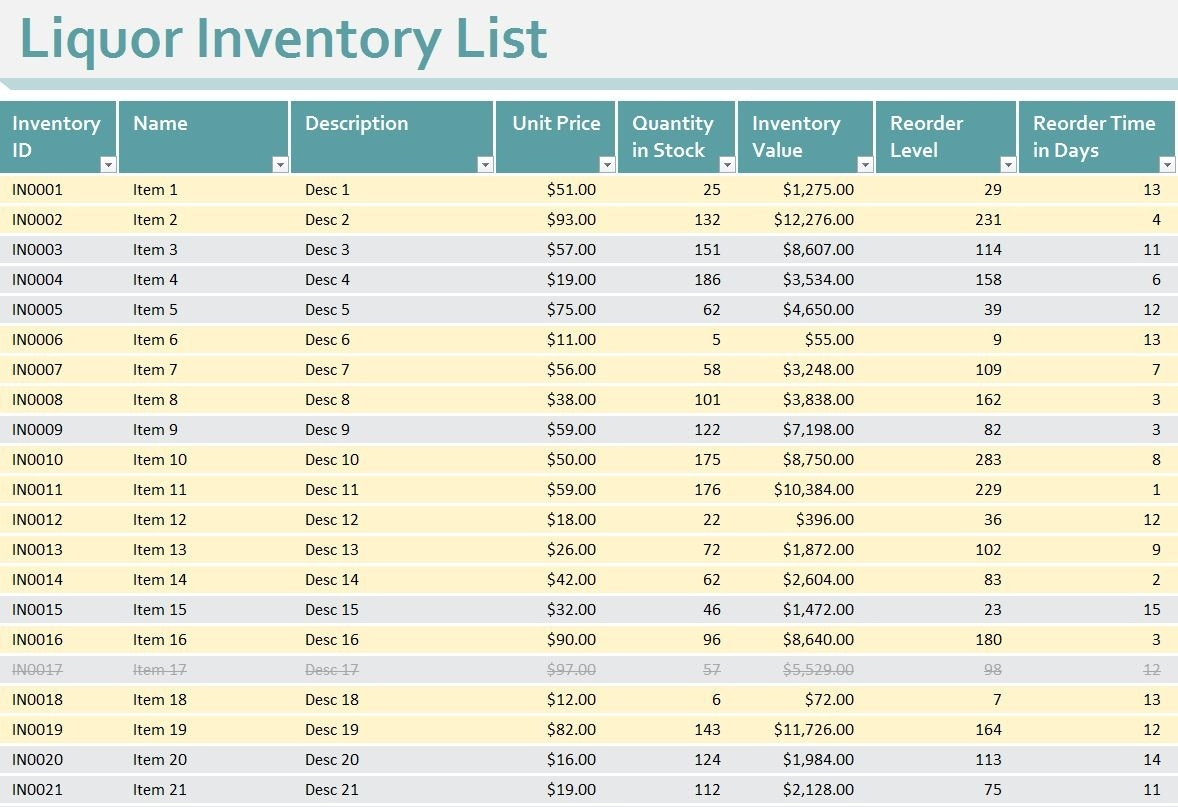 Liquor Inventory Sheet | Liquor Inventory Spreadsheet Inside Bar Inside Bar Liquor Inventory Spreadsheet