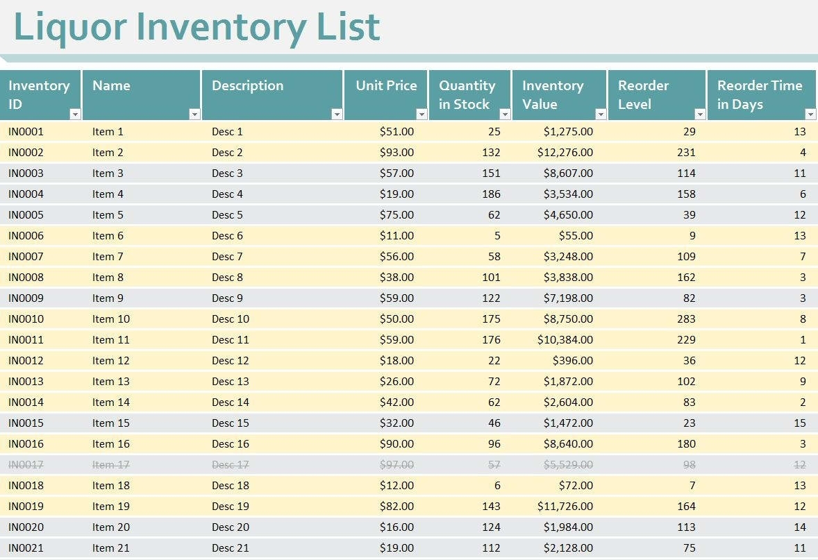 Liquor Inventory Spreadsheet Excel How To Do Liquor Inventory Throughout Liquor Inventory Spreadsheet Download