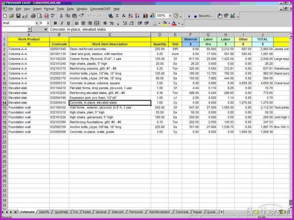 Lovely Construction Estimating Spreadsheet Excel Pictures Fyd To Estimating Spreadsheet