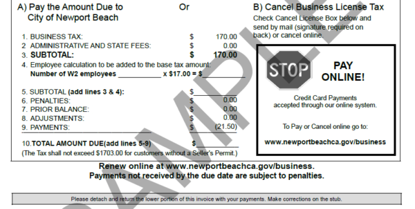 Make A Payment | City Of Newport Beach And Business License Samples