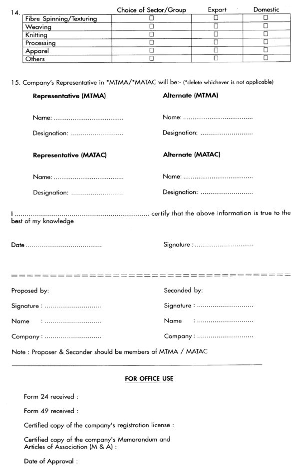 Malaysian Textile Manufacturers Association With Business Registration Application Form