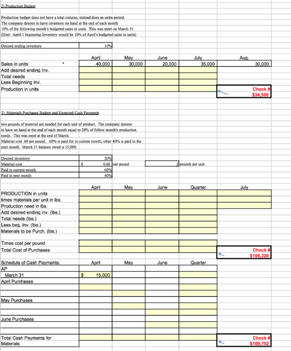 Managerial Accounting Chapter 9  Budget Excel Spre | Chegg For Excel Spreadsheet Course