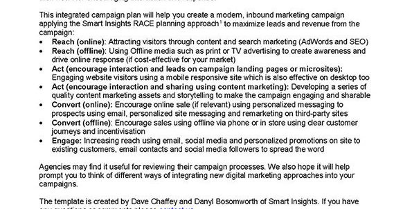 Marketing Campaign Plan Template | Smart Insights Inside Marketing Campaign Tracking Spreadsheet