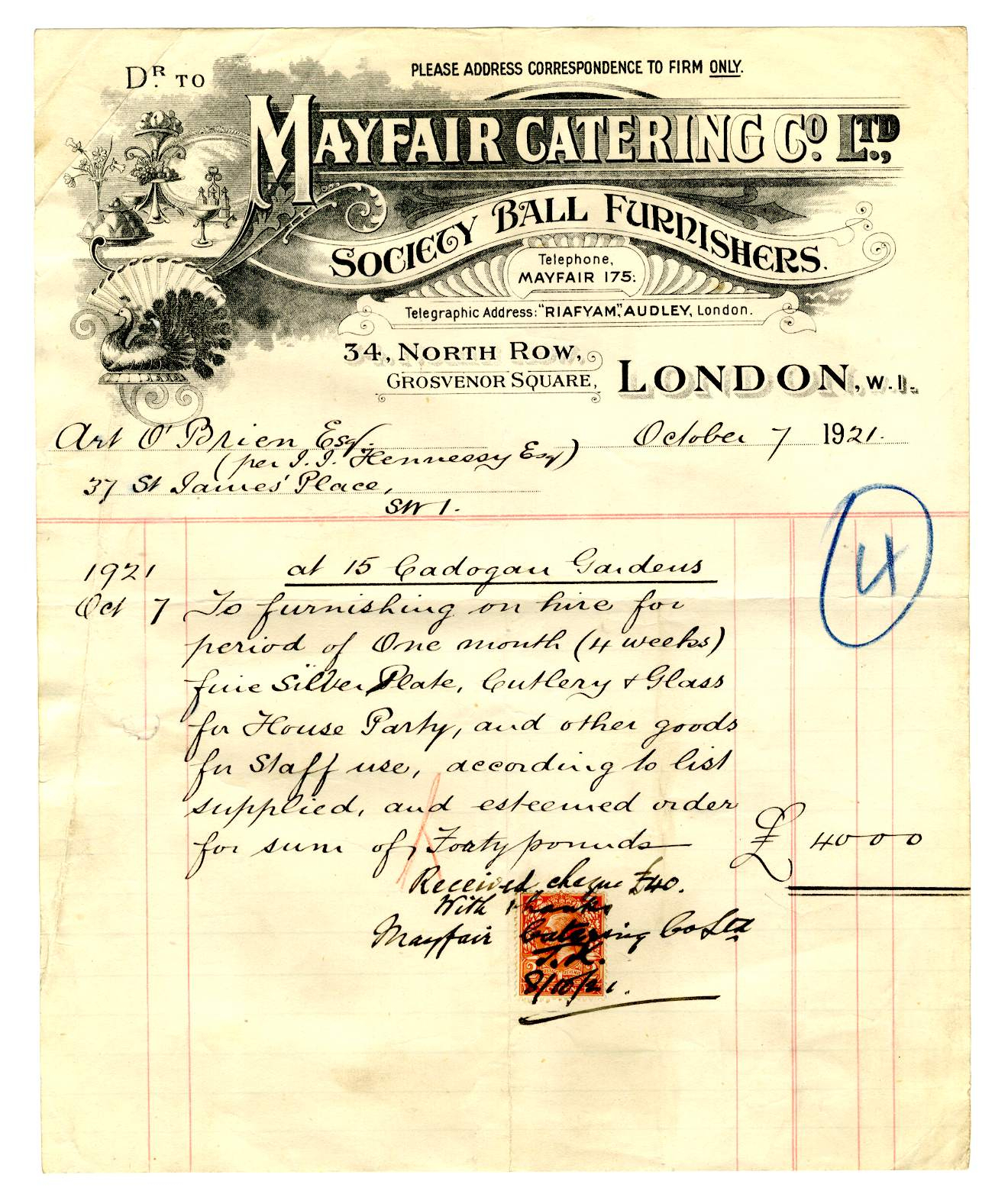 Mayfair Catering Company Invoice – 7 October 1921 | Treaty Within Catering Service Invoice