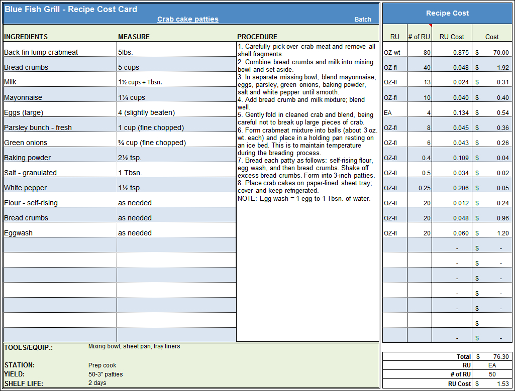 Menu & Recipe Cost Spreadsheet Template For Food Cost Analysis Spreadsheet