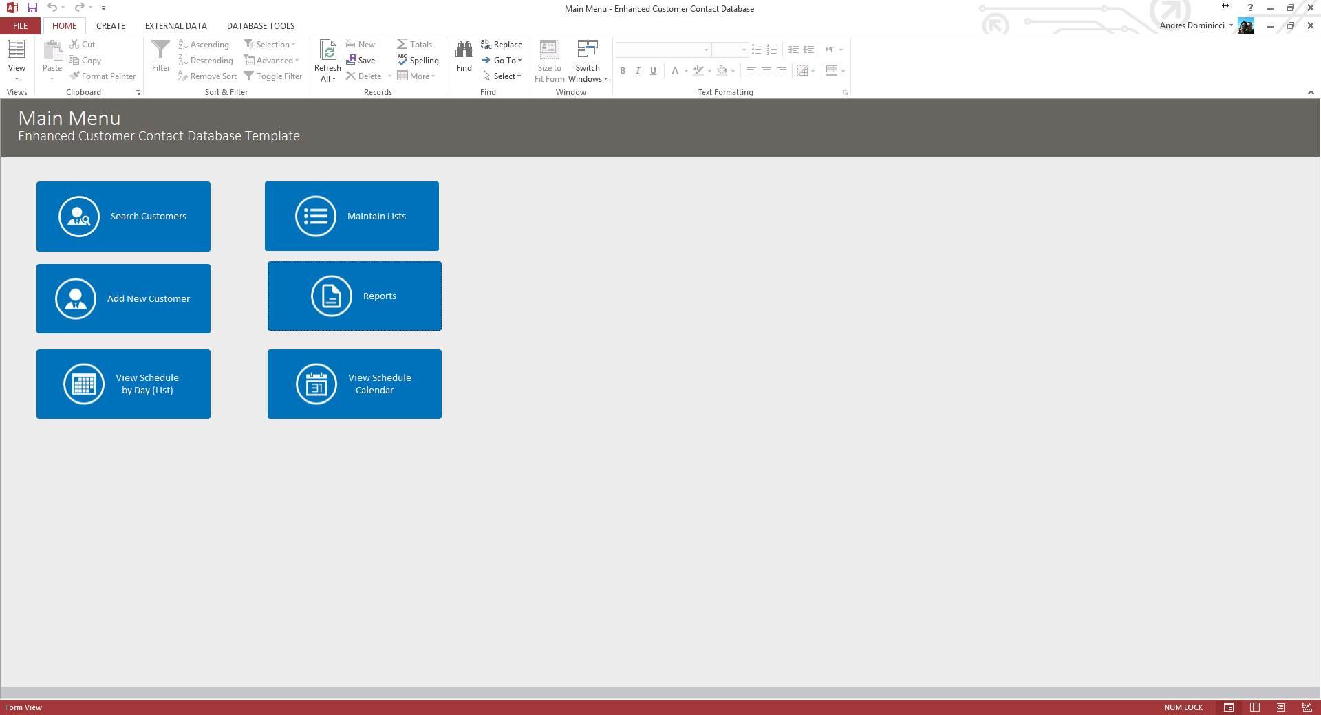 Microsoft Access Enhanced Customer Contact Database Template In Customer Database Template Access