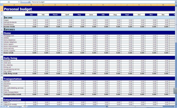 Monthly And Yearly Budget Spreadsheet Excel Template And Spreadsheet For A Budget