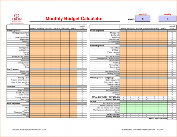 Monthly Budget Calculator Memo Templates Word : Oninstall Within Household Budget Calculator Spreadsheet