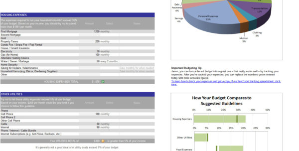Monthly Expense Tracker, Calculator & Spending Planner   Personal In How To Track Expenses In Excel