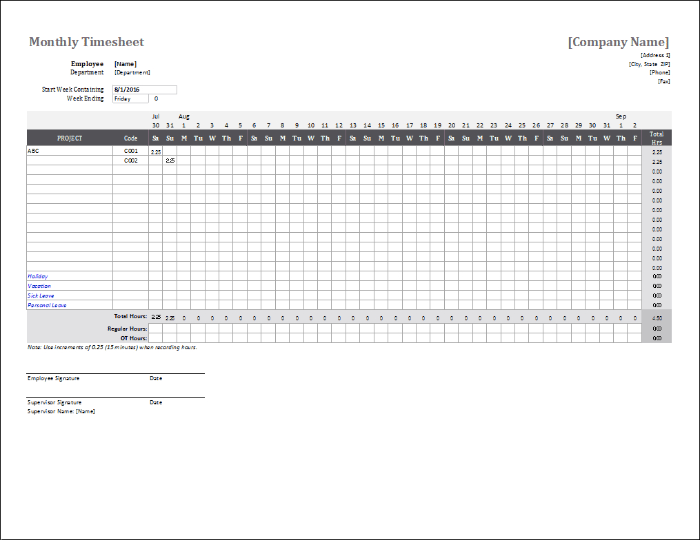 Monthly Timesheet Template For Excel For Employee Timesheet Template