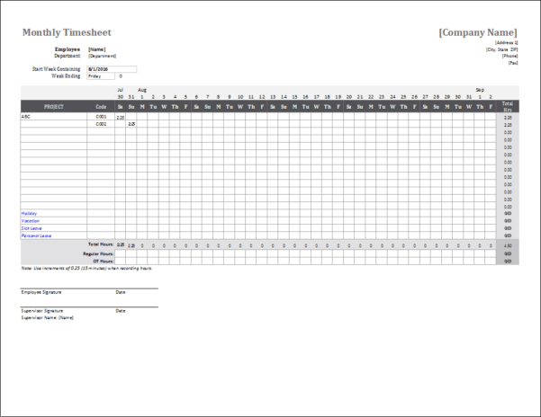 Monthly Timesheet Template For Excel In Tracking Employee Time Off Excel Template