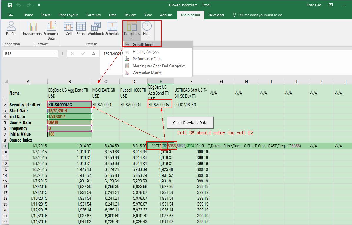 Morningstar Excel Add In For Asset Allocation Spreadsheet Template