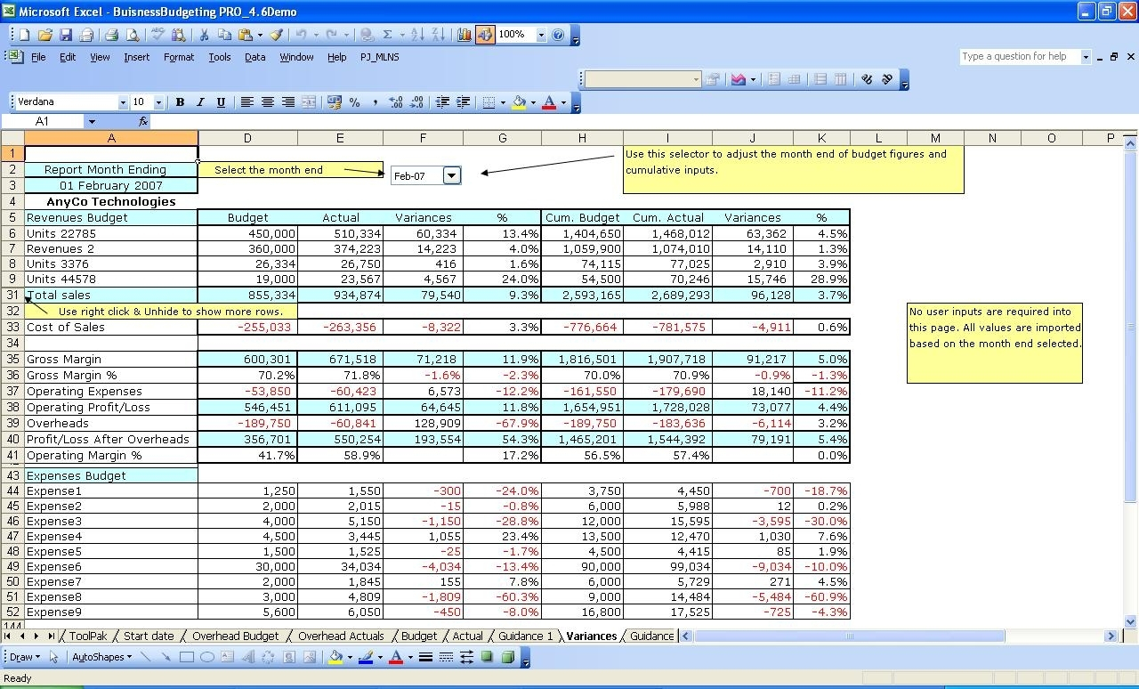Ms Excel Budget Templates: Company Budgeting For Financial Budget Intended For Microsoft Excel Budget Spreadsheet
