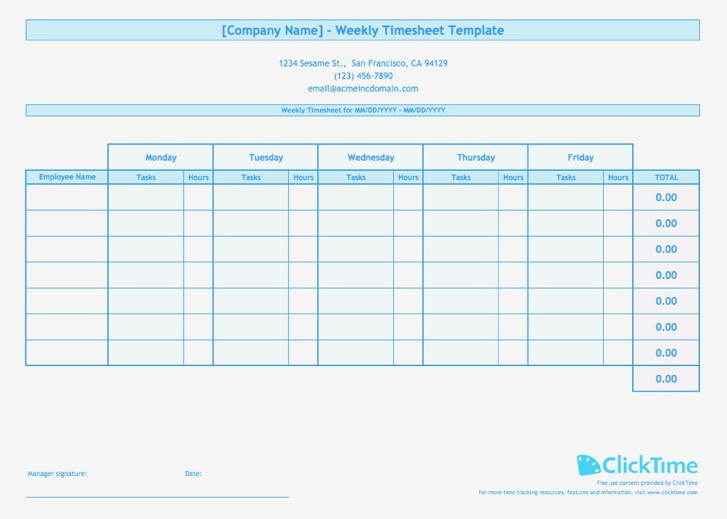Multiple Employee Timesheet Template Full Elemental And Weekly For And Employee Timesheet Template