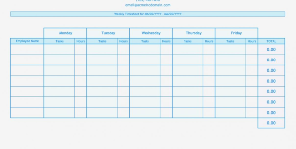 Multiple Employee Timesheet Template Thumbnail Weekly Blue 1 300 192 And Employee Time Tracking Spreadsheet Template