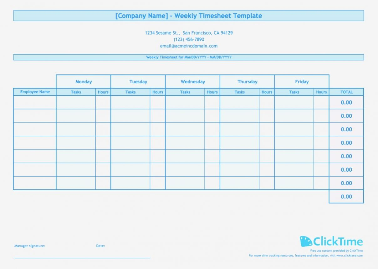 Multiple Employee Timesheet Template Time Tracking Spreadsheet And With Employee Hour Tracking Template
