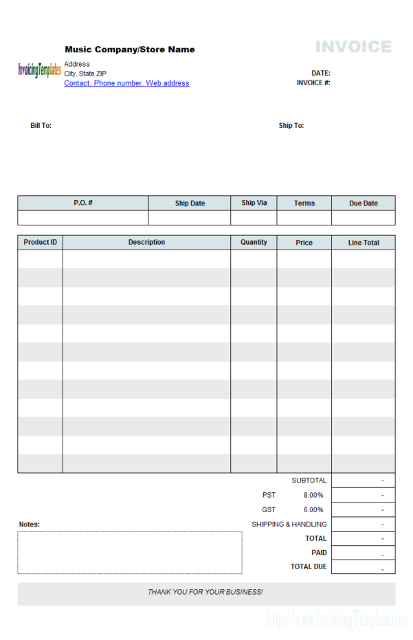 Music Store Invoice Template (Retail) And Microsoft Excel Invoice Template