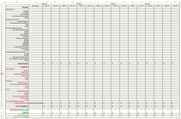 Net Worth Calculation Spreadsheet   Healthywealthywiseproject In Spreadsheet Net