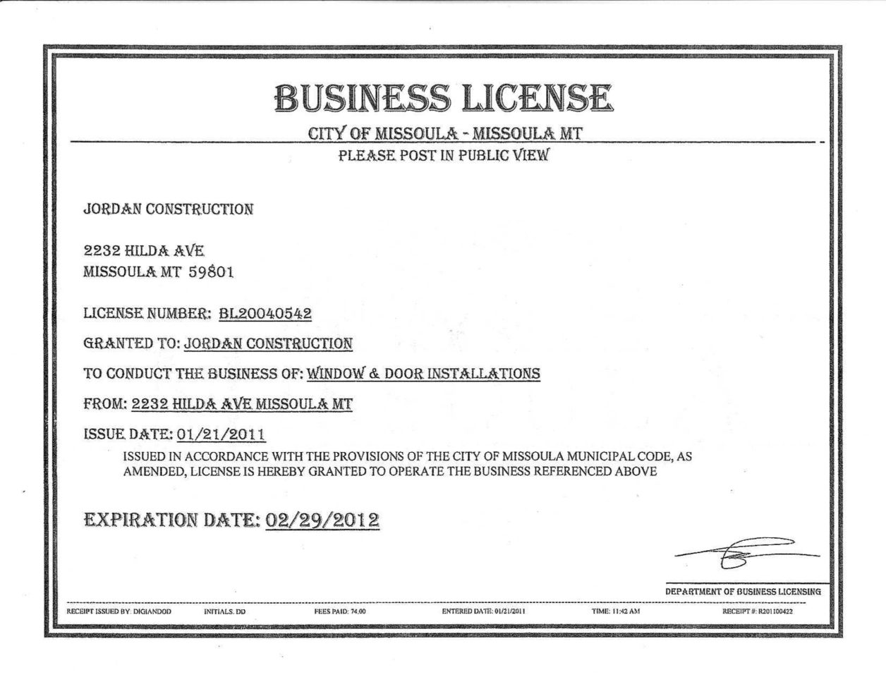 Nj Business Registration Certificate Fresh 29 Of Sample Business Within Business License Samples