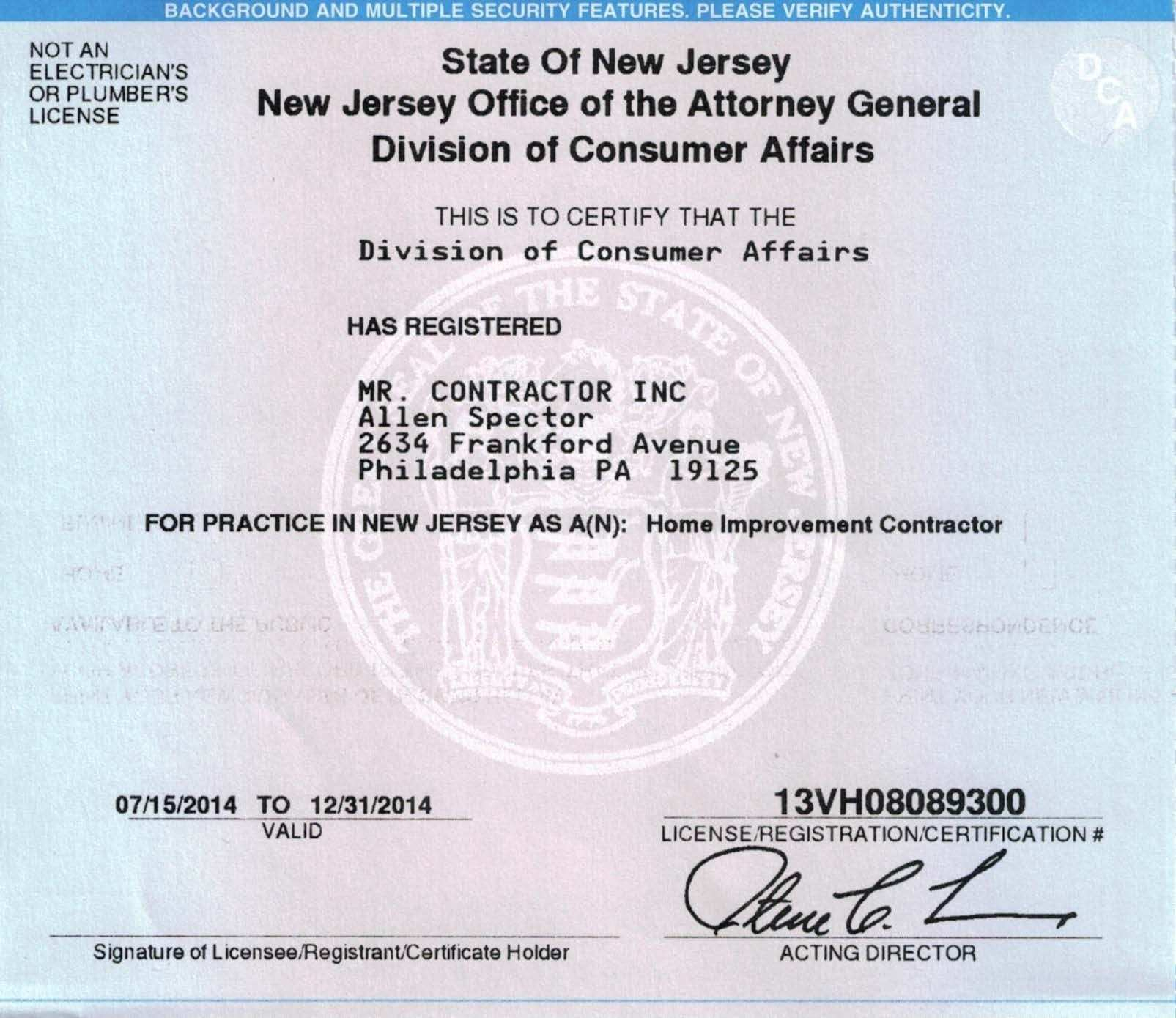 registration certificate business nj license inside ontario excel db number expense spreadshee application