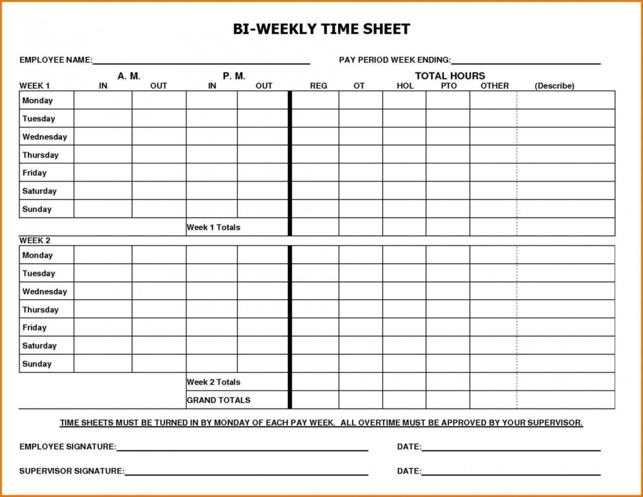 Of Blank Bi Weekly Timesheet Template Biweekly Time Sheet With Sick Intended For Biweekly Payroll Timesheet Template