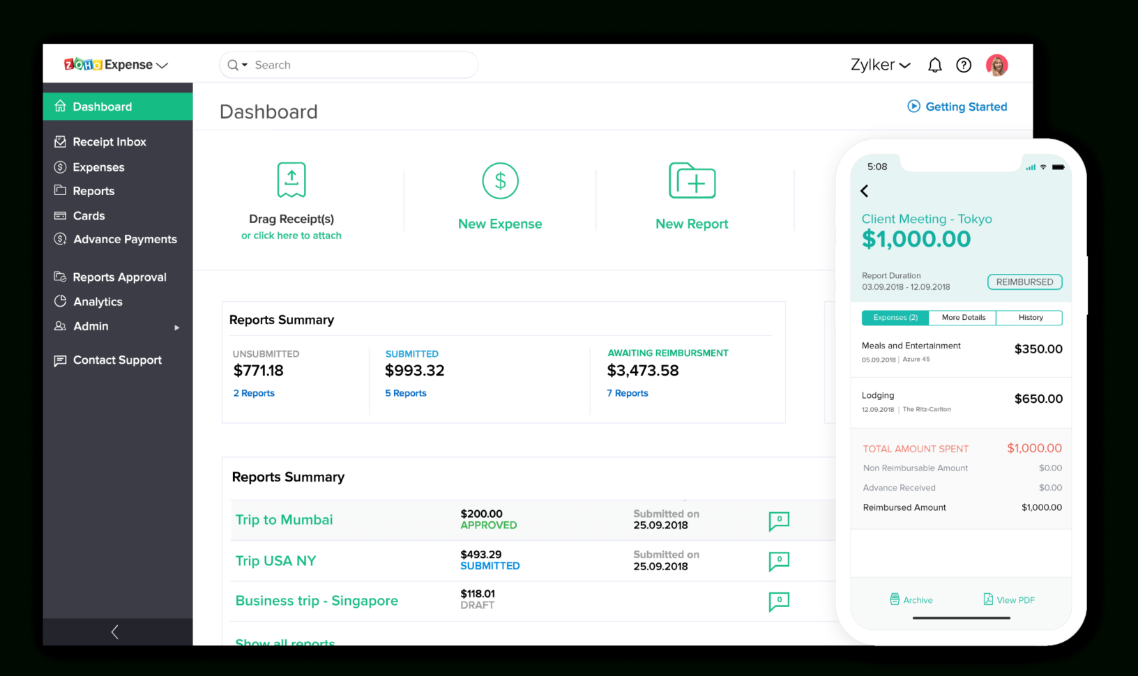 Online Expense Report Software | Zoho Expense Inside Business Expense Tracking Software