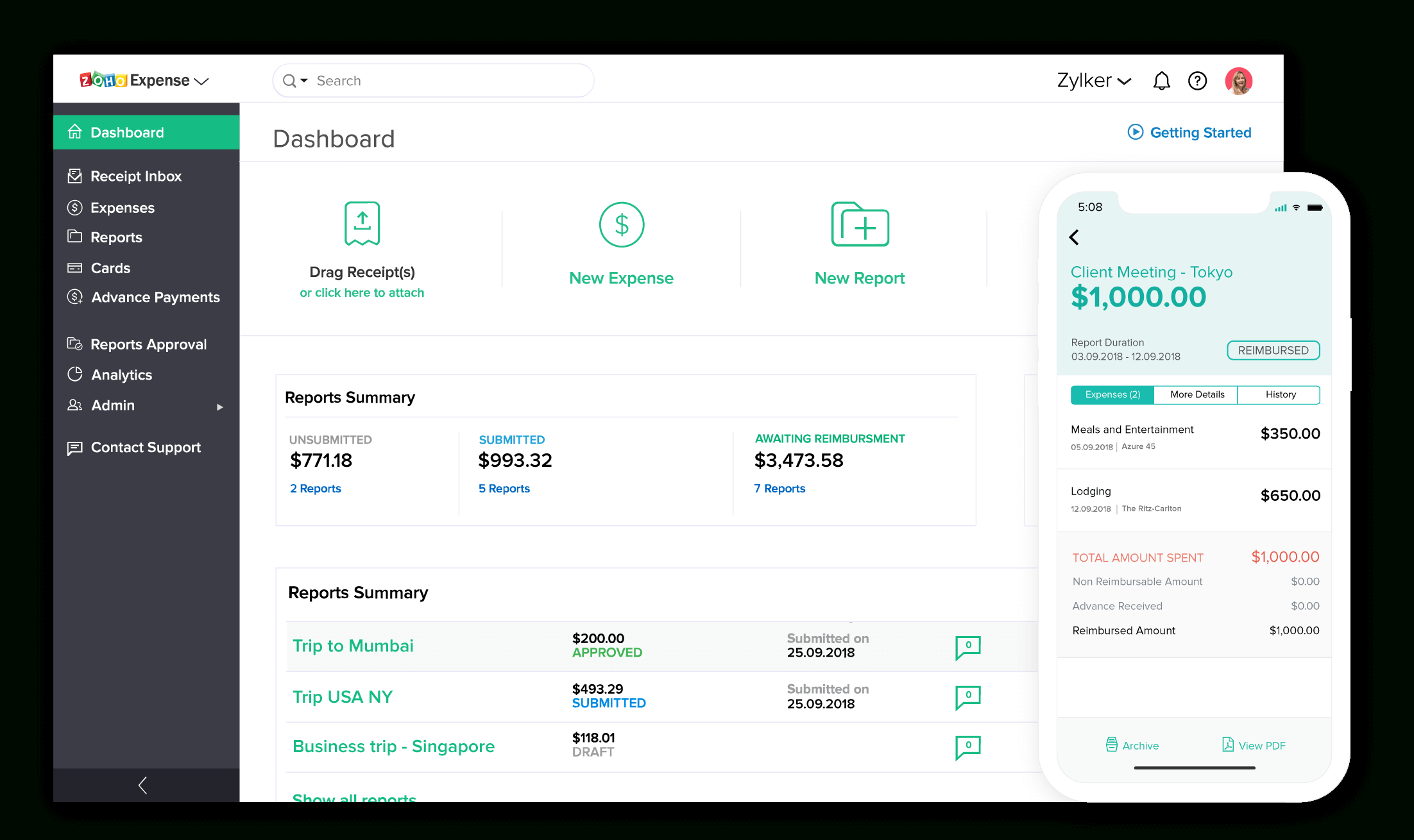 Online Expense Report Software | Zoho Expense Throughout Online Business Expense Tracker