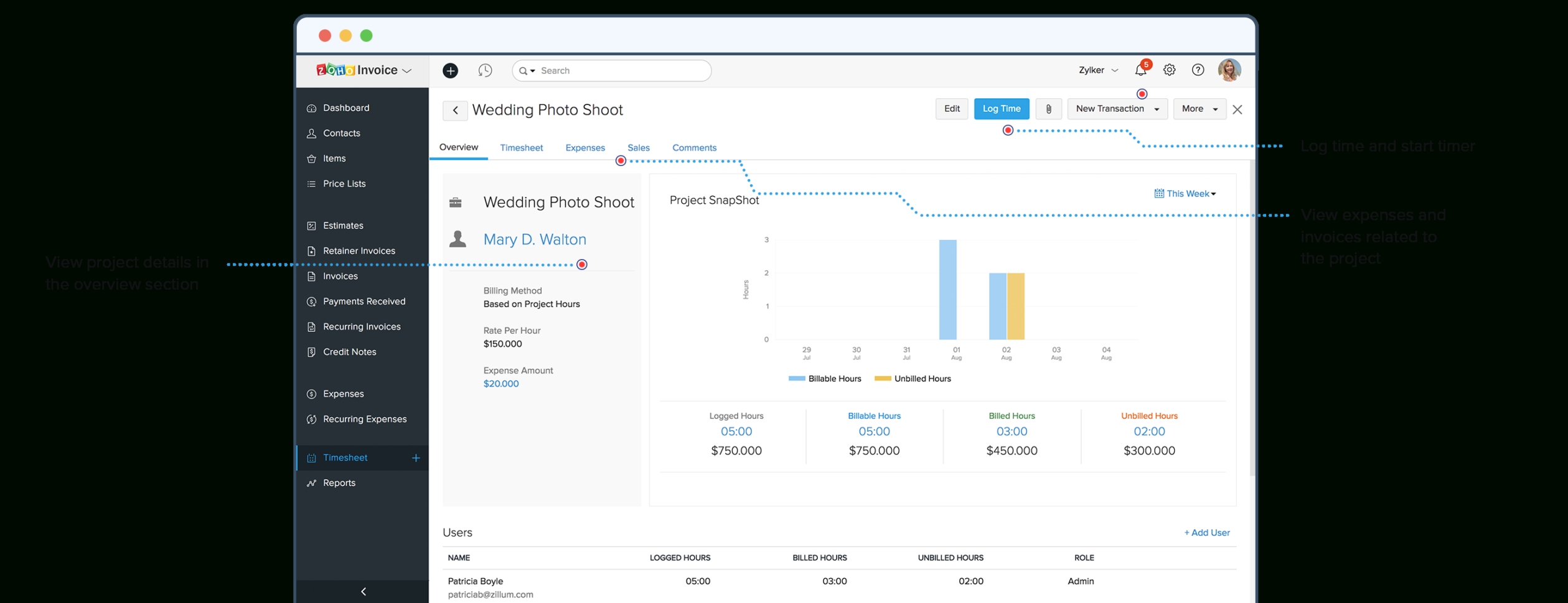 Online Project Time Tracking Software   Zoho Invoice With Project Expense Tracking
