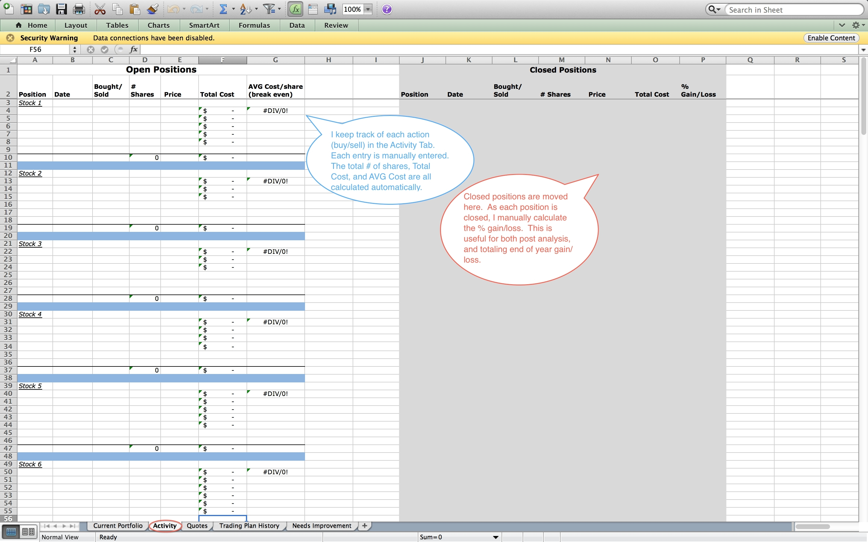 Options Trading Worksheet Inside Option Trading Spreadsheet