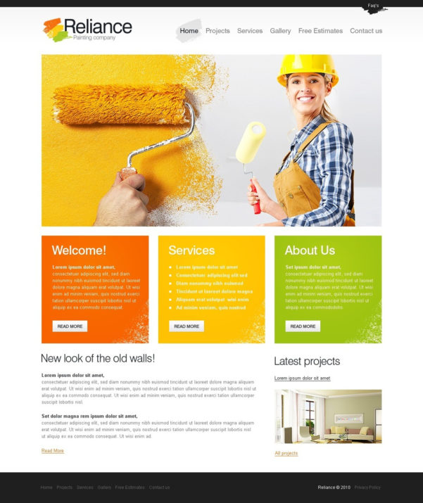 Painting Company Website Template #29111 Throughout Company Templates