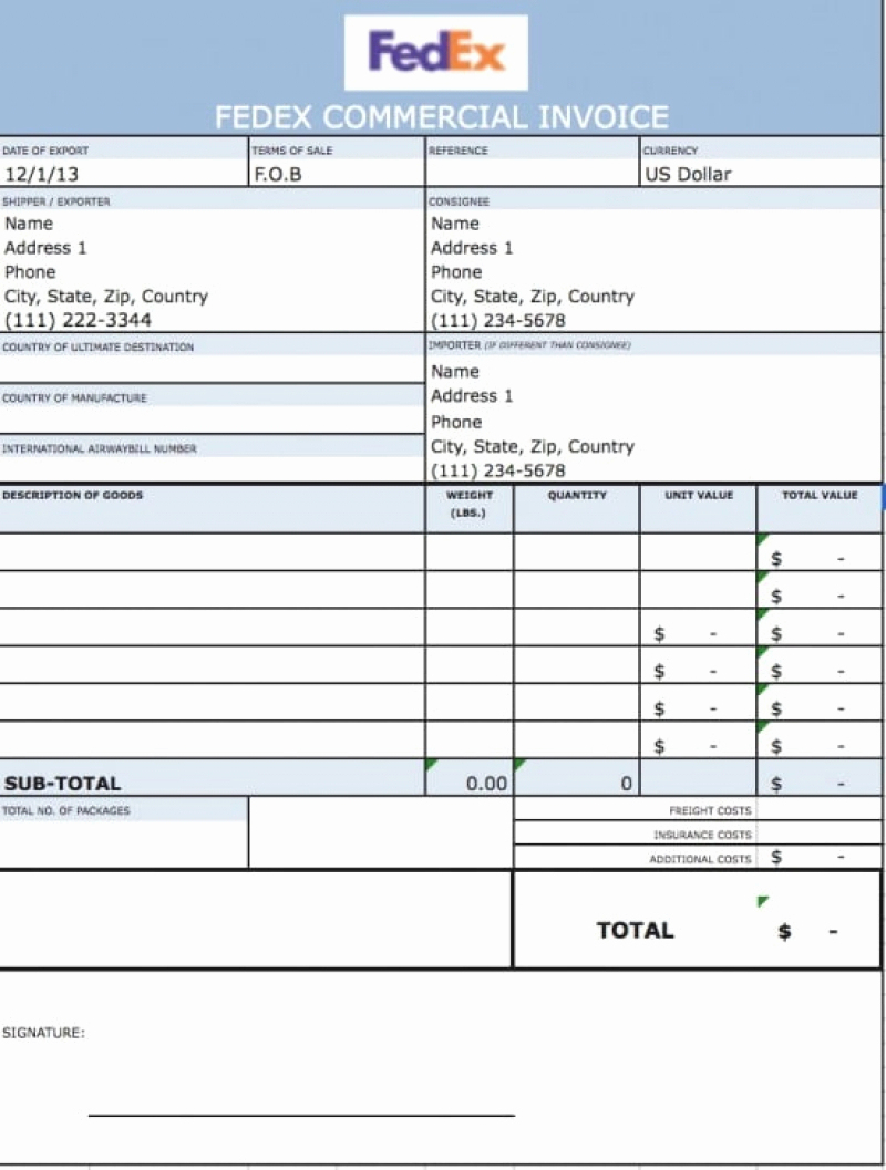 Pay Fedex Invoice International Commercial Invoice Template Excel With Fedex Invoice